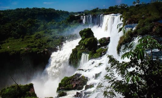 Side view of Iguazu Falls