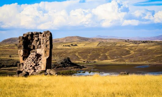 Ruins in front of landscape in Peru