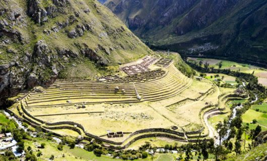 Aerial view of Inca Ruins in Peru