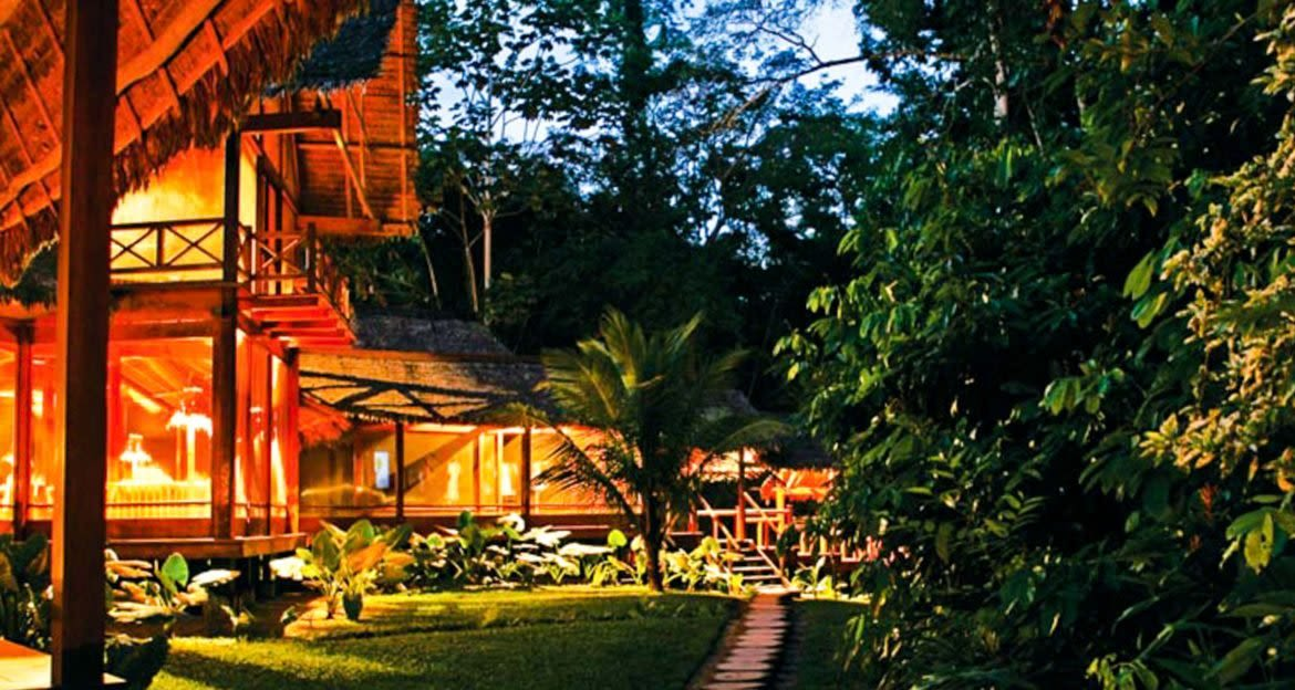 Inkaterra Reserva Amazonica exterior and path by evening
