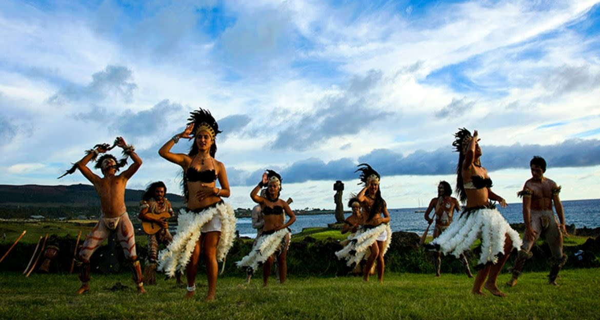 Group of dancers perform on Easter Island