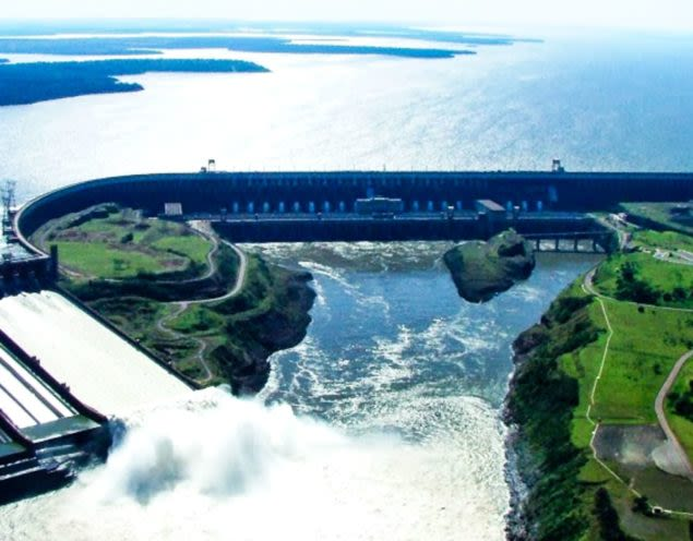 Aerial view of Itaipu Dam in Paraguay