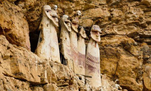 Karajia sarcophagi in cliffside of Peru
