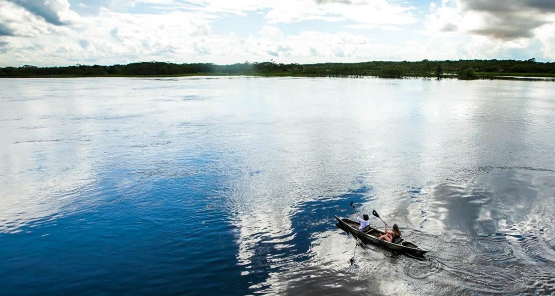Aerial view of travelers kayaking