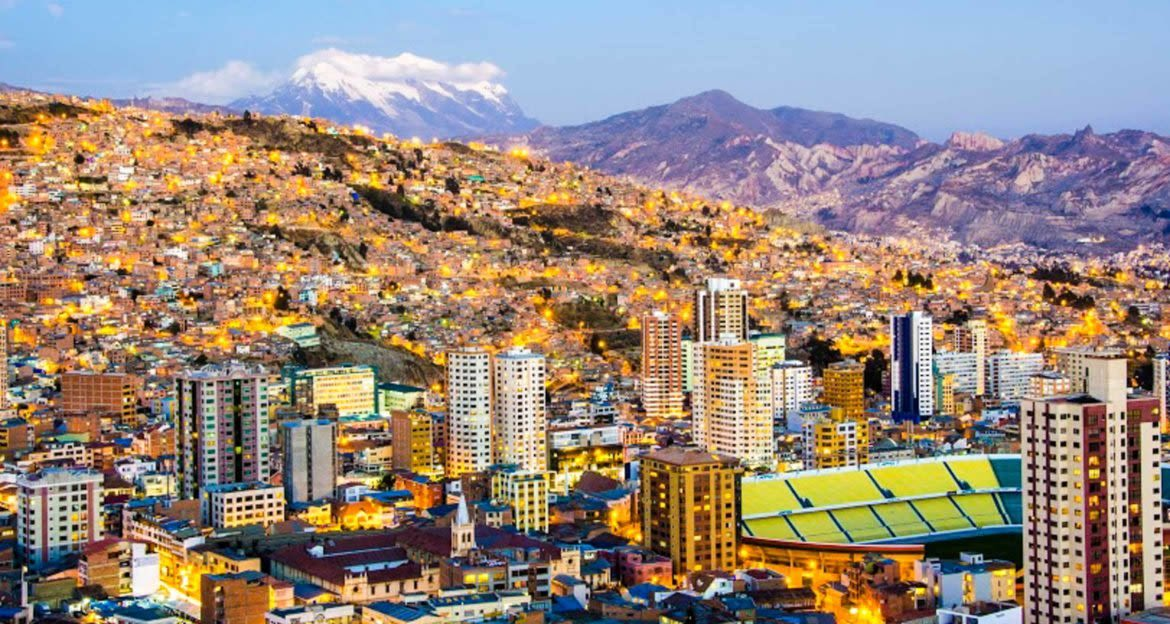 Aerial view of La Paz, Bolivia at evening