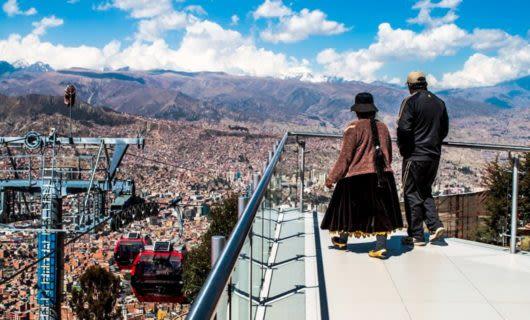 Travelers overlook La Paz, Bolivia