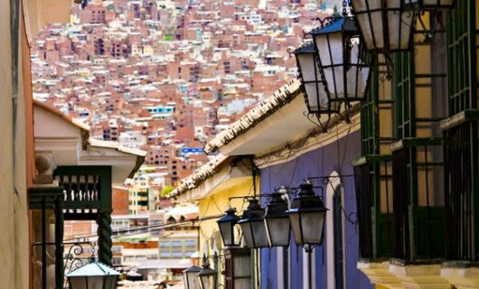 Small street with colorful buildings in La Paz, Bolivia