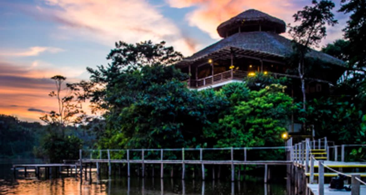 Exterior of La Selva Amazon Lodge at sunset