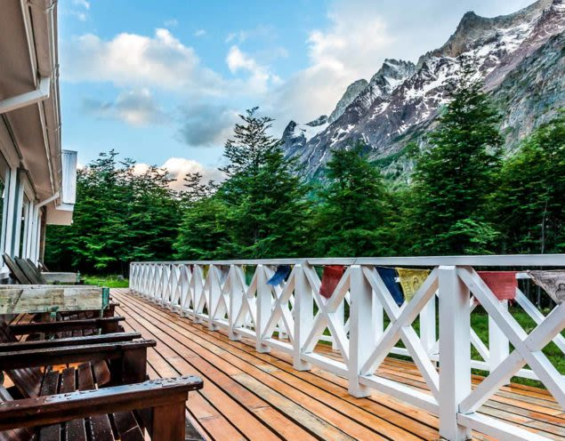 Deck outside of Lago Grey Lodge