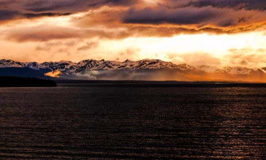 Sunset over Fagnano Lake in Argentina