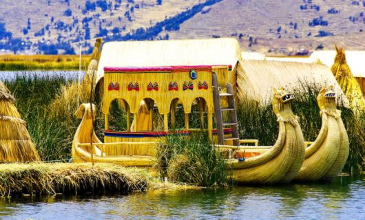 Straw canoe on Lake Titicaca