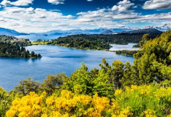 Aerial view of Lake Victoria in Bariloche, Argentina