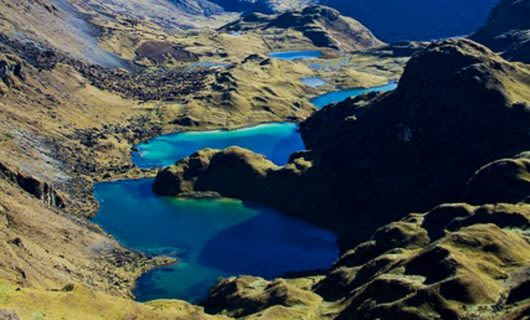 Aerial view of Lares Valley lakes