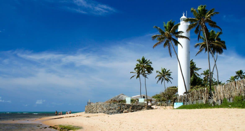 White lighthouse on Brazil beach