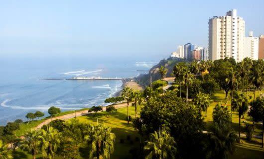 View along coastline of Lima, Peru