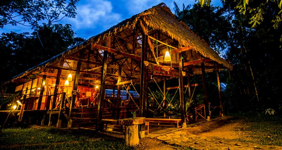 Amazon lodge in the evening