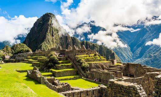 View of Machu Picchu peak in Peru
