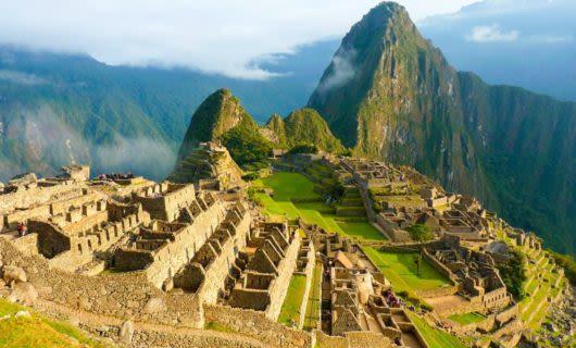 Wide view of Machu Picchu ruins