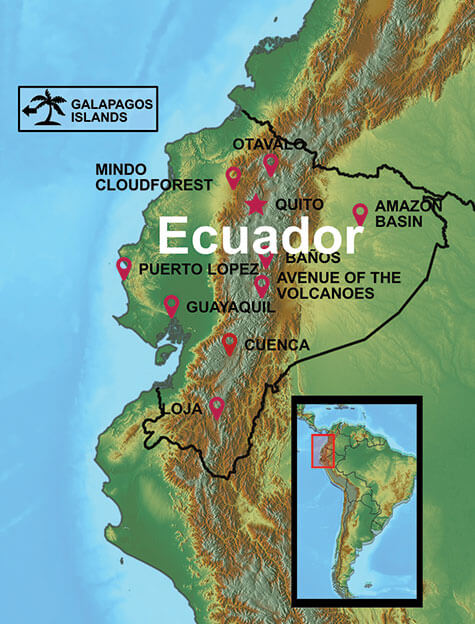 Map of our Ecuador Tours and Destinations