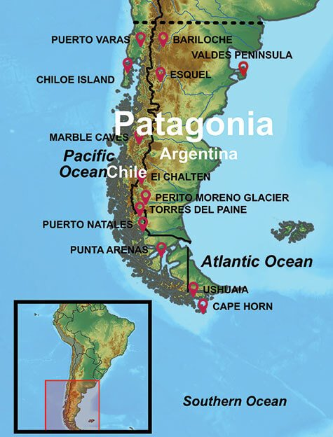 Map of our Patagonia Tours and where our Patagonia Vacation Packages travel