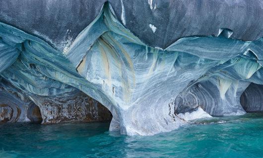 unique marble caves in Patagonia