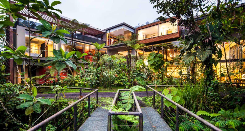 Lush courtyard of Mashpi Lodge