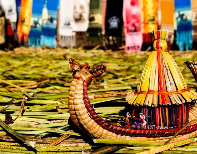 Small replica of Lake Titicaca straw canoes