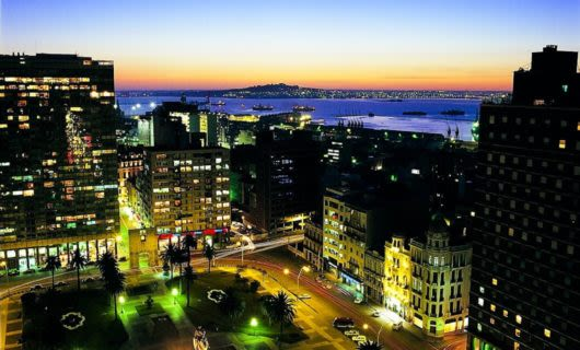 Aerial view of Montevideo at night
