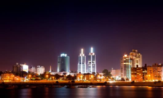 Shoreline of Montevideo, Uruguay at night