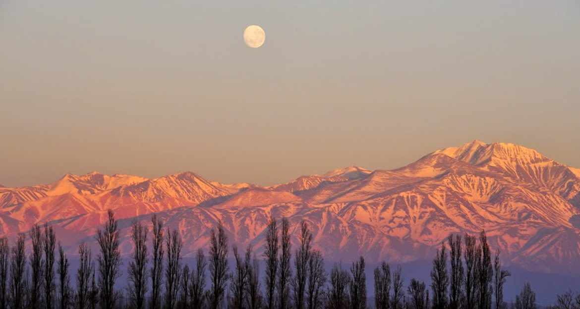 andes mountains at sunset