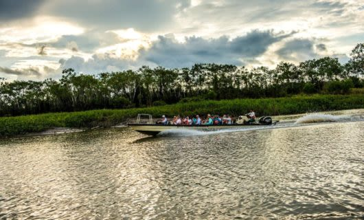 Tour group takes motorboat down Amazon river