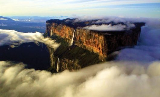 Aerial view of clouds surrounding Mount Roraima