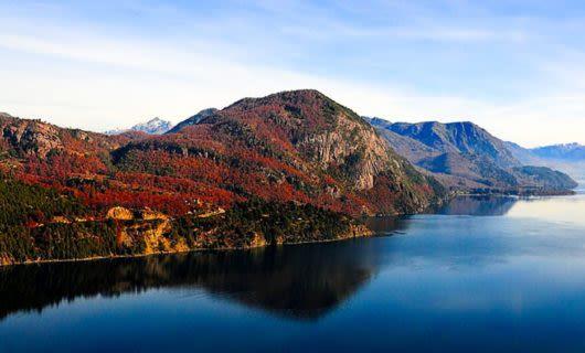 Mountain ridge runs along lake