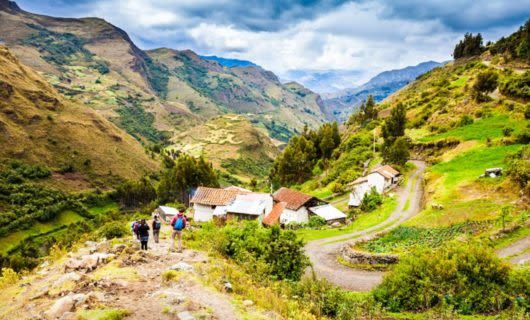 Houses in mountain valley of Peru