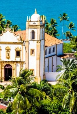Church on coast in Olinda, Brazil
