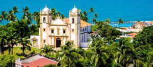 Church on coast in Olinda, Brazil