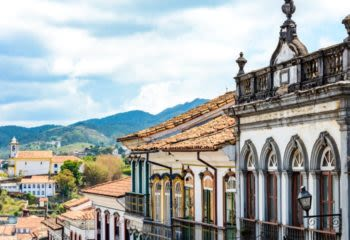 Facades of houses that compose the architectural ensemble of the city of Ouro Preto