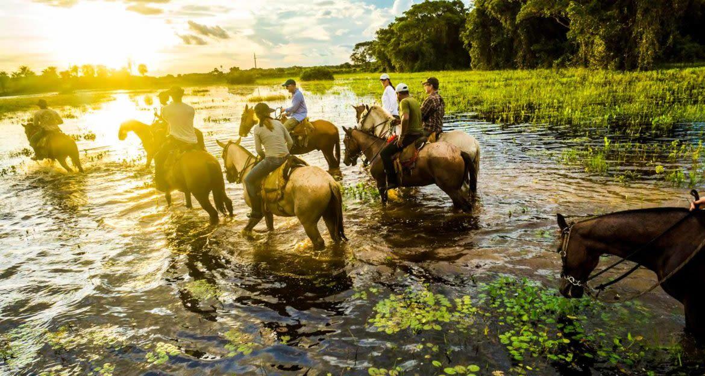 Travelers ride horses through Pantanal