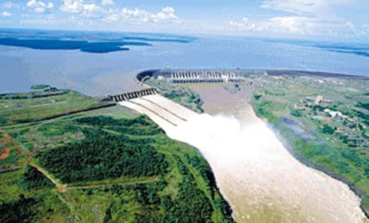 Aerial view of dam in Paraguay