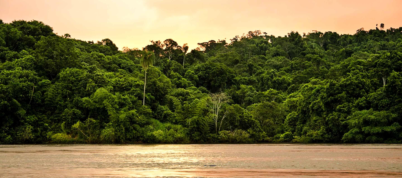 Sunset over water of Paraguay Pantanal
