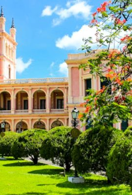 Beautiful view of the Presidential Palace and the estate gardens during a Paraguay Travel tour.