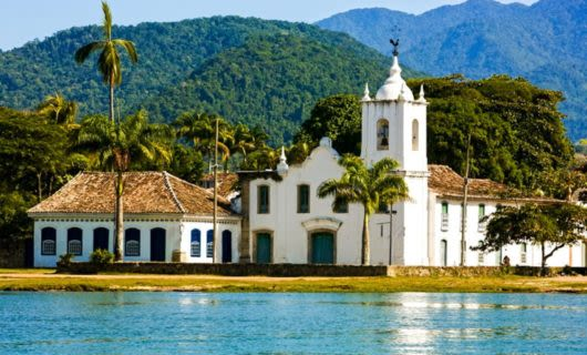Church near water in Paraty, Brazil