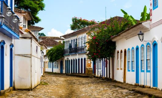 Street in historic district of Paraty, Brazil