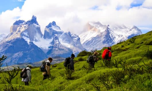 Hiking group treks for Patagonia camp
