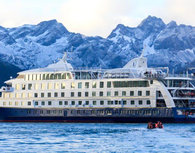 Cruise ship passes Patagonia mountains
