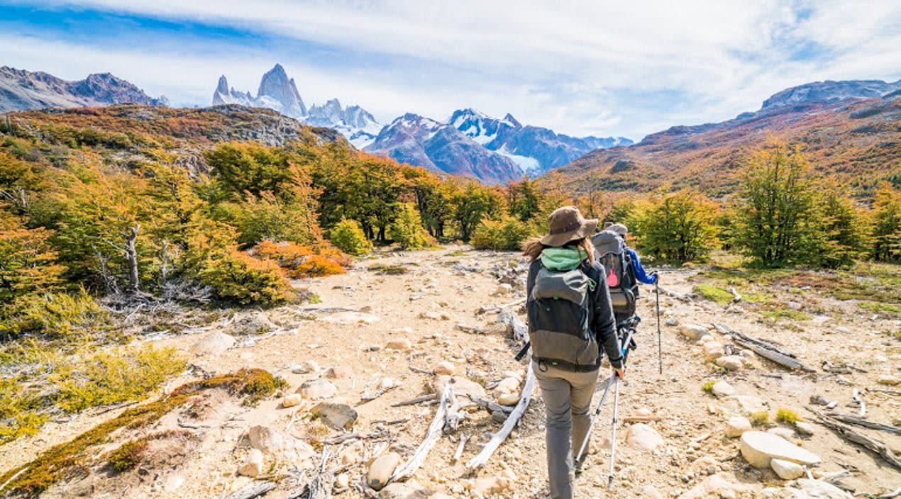 Hikers in Patagonia mountains
