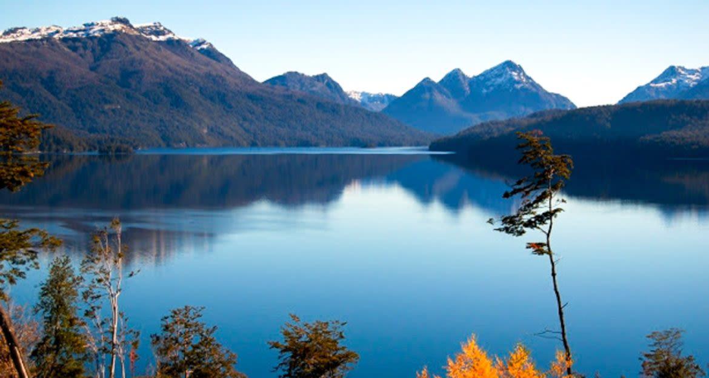Calm lake near Patagonia mountains