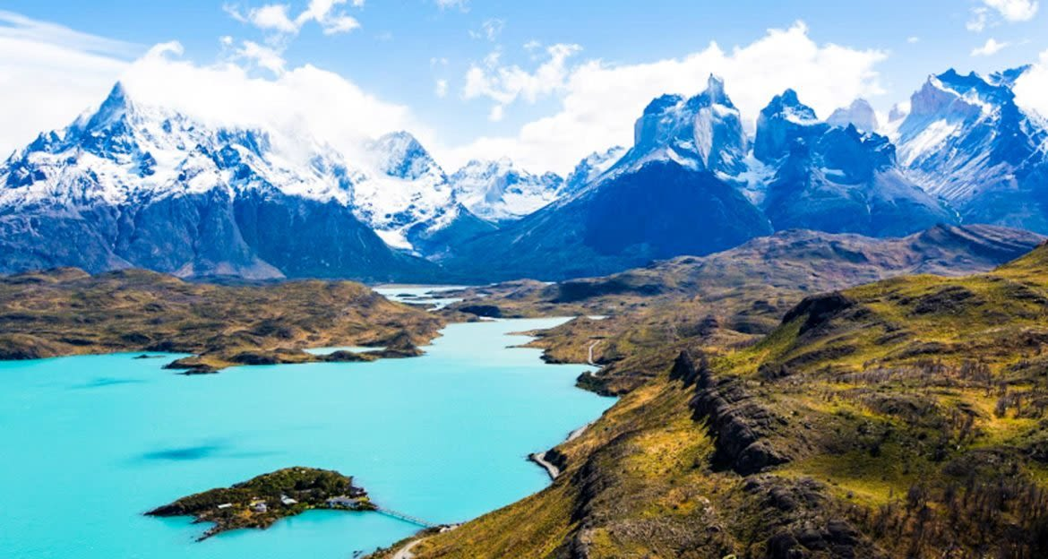 Lake in the valley of Patagonia mountains