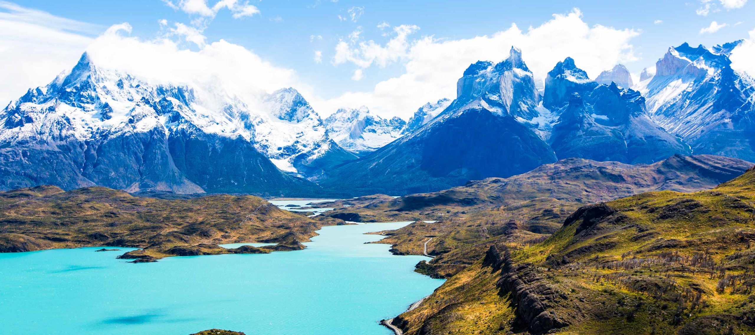 Views of mountain lake and impressive mountains during Torres del Paine Tours