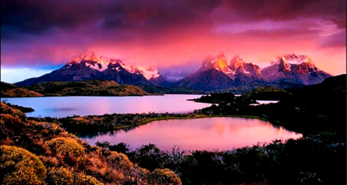 Sunset over Patagonia lakes
